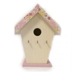 colgador para llaves de pared en forma de casa de pájaros de madera