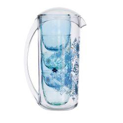 jarra acrílica y vasos estampado de flores azul de diseño