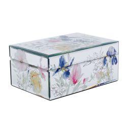 caja joyero espejo con flores de colores