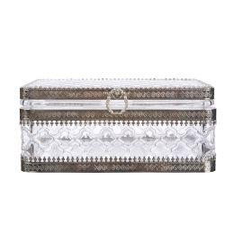bonito joyero de cristal prensado con detalles elegantes