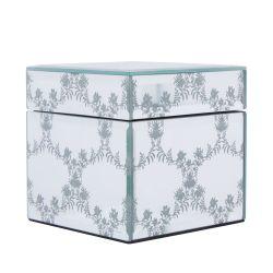 caja joyero espejada con flores en cadeneta