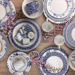 vajilla de 12 piezas cerámica azul