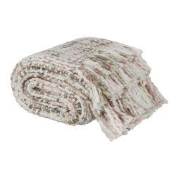 manta súper gustosa tejida maxi en color rosa y gris