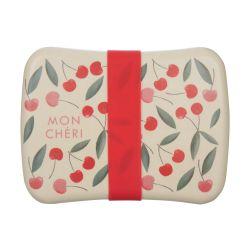 caja para almuerzo con goma de cierre estampada con cerezas