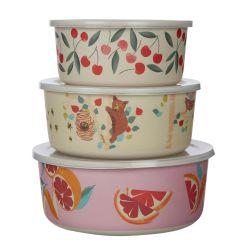 3 tuppers redondos estampados con cerezas, naranjas y osos