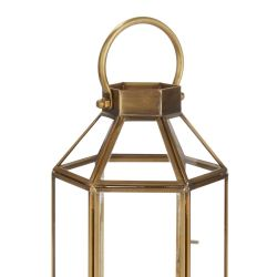 farol portavelas bronce de base hexagonal