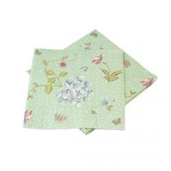 servilletas de papel verde menta estampada con flores de diseño