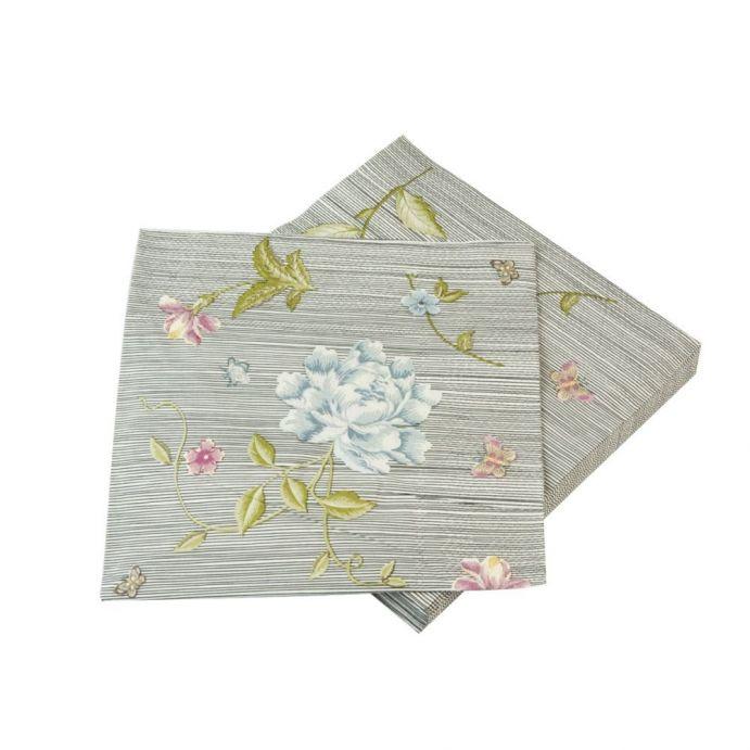 20 servilletas de papel estampado con flores