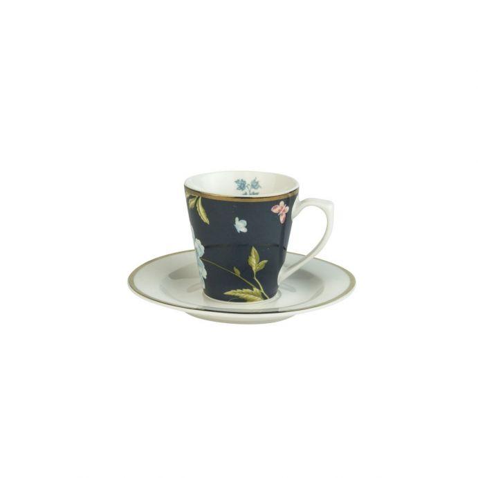 taza y plato azul de porcelana estampada con flores y pájaros de diseño