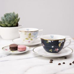 taza y plato cappuccino de porcelana estampada con flores y pájaros de diseño