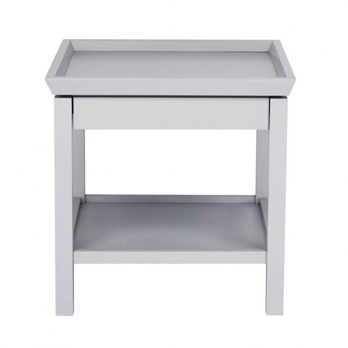 mesilla de madera en gris plata con bandeja inferior