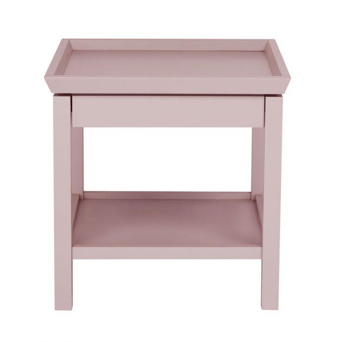 mesilla auxiliar de madera en rosa con bandeja inferior
