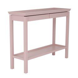 consola de madera en rosa maquillaje con bandeja inferior