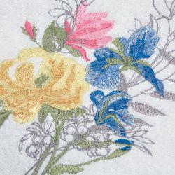 toalla de mano de algodón blanco bordada con flores