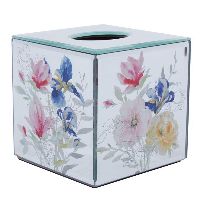cajita para pañuelos de papel en cristal espejado con flores