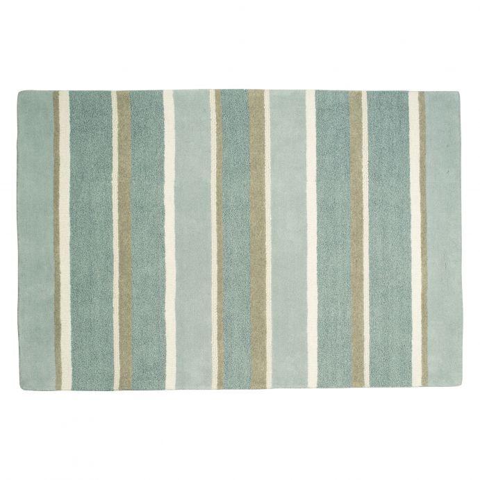 alfombra de lana de rayas azules y verdes