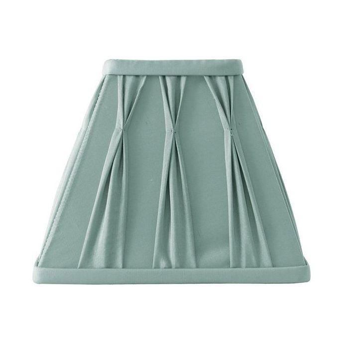 pantalla azul verdoso para lámpara de seda plisada y base cuadrada