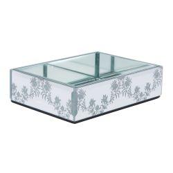 jabonera de cristal espejo y flores