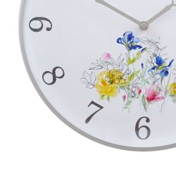 reloj de pared redondo estampado con flores de colores