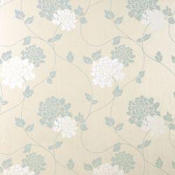 papel pintado perlado de guirnaldas de flores en blanco y azul verdoso