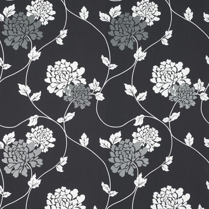 papel de pared pintado negro con guirnalda de flores en blanco y gris
