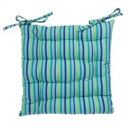 cojín para silla estampado de rayas azules y verdes