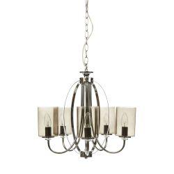 fantástica lámpara de techo de 5 brazos con pantallas de cristal ahumado de diseño