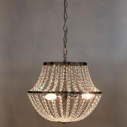 lámpara de techo de diseño clásico con bandas cromadas y cadenas de cristales decorativos