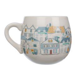taza de desayuno cerámica con casitas de tejados de colores