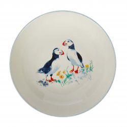 cuenco ensaladera cerámica con dos pájaros frailecillos estampados