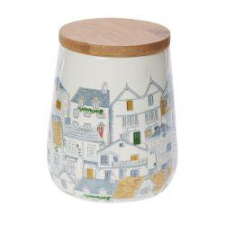 bote cerámico con tapa hermética de bambú para cocina con estampado de casitas con tejados de colores