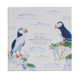 4 cuencos cerámicos en azul y blanco con pájaros estampados