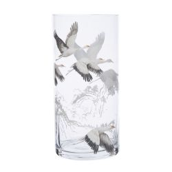 jarrón de cristal estampado con cigüeñas al vuelo de diseño elegante