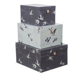 3 cajas de cartón decorativas con cigüeñas al vuelo