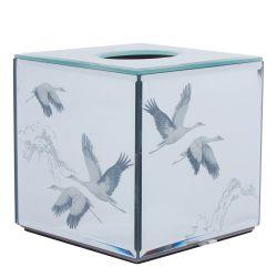 caja para pañuelos de papel diseño espejo con garzas estampado elegante