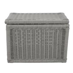 cesta con tapa tipo baúl  pintado en gris de diseño