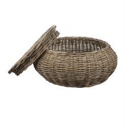cesta redonda con tapa y diseño plano de fibras naturales