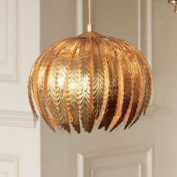 lámpara colgante de hojas doradas de diseño espectacular