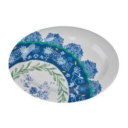 fuente de melamina para centro de mesa en blanco y azul con diseño veraniego