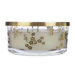 vela perfumada con tres mechas, en vaso de cristal estampado con flores y tapa dorada