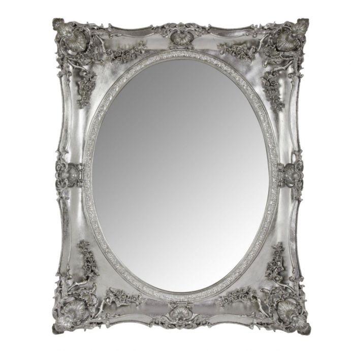 espejo con marco gris platino en relieve de estilo clásico
