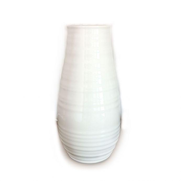 lámpara de sobremesa cerámica con forma de jarrón blanco acanalado