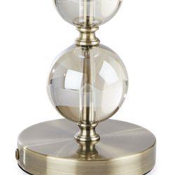base de lámpara bronce con bolas de cristal decorativas