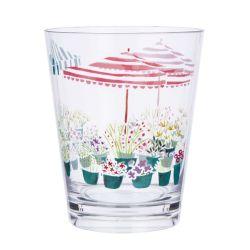 vaso estampado con flores y sombrillas de colores en material acrílico