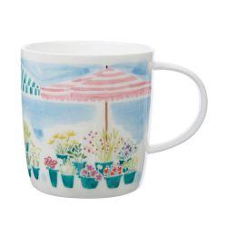 taza cerámica estampada con flores de colores y sombrillas bonitas