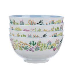 4 boles de melamina estampada con un precioso diseño de mercadillo de flores multicolor
