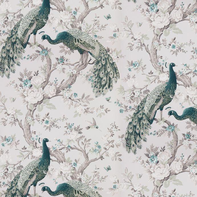 papel pintado de diseño de pavos reales en verde azulado