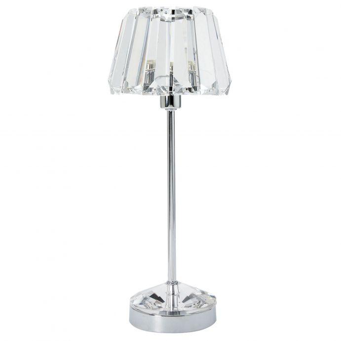 lámpara para mesilla de base cromo y pantalla de cristal