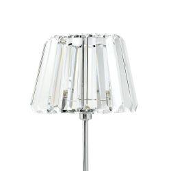 lámpara de mesilla con base cromo y pantalla de piezas de cristal