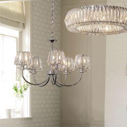 lámpara de techo cromo con 5 brazos y pantallas de cristal